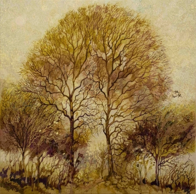 Oak Trees (pen & ink on canvas, 50x50cm) £250 Plus delivery by Tony Purser