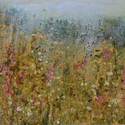 Sunshine and Showers (100 x 100cm, mixed media) Sold by Sally Stafford