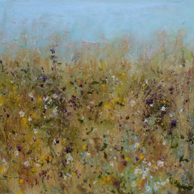 Silver Sky and Golden Grasses (80 x 80cm, mixed media) £1750 plus delivery by Sally Stafford