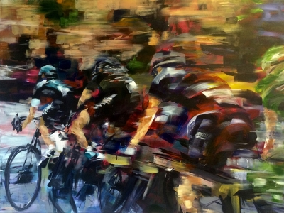 Blink, Tour de France (acrylic on canvas 80 x 60cm unframed) £790 plus delivery Sold by Kathryn Sassall