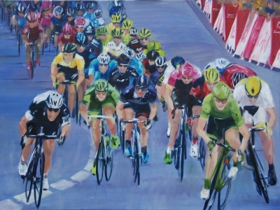 Gorilla Sprint; Tour de France (oil on canvas 80 x 60cm framed) £790 plus delivery by Kathryn Sassall