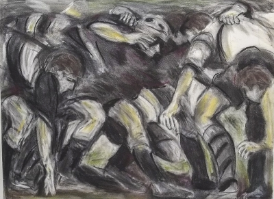 The Scrum (100 x 80 cm, pastel) £495 plus delivery by Claire Griffiths