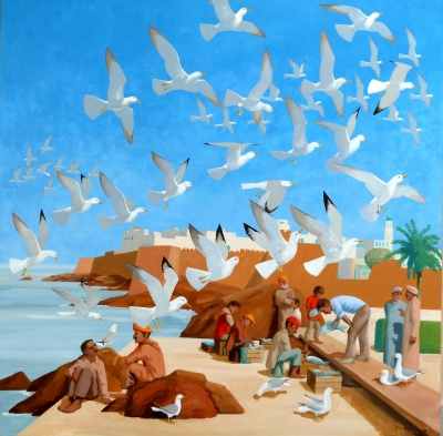 Gulls, Essaouira, (72 x 72, oil on panel) Sold by Frans Wesselman