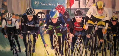 Banking; Tour de Yorkshire (oil on canvas 100 x 50cm framed) £890 plus delivery by Kathryn Sassall