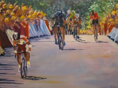 High Noon, Tour de France (acrylic on canvas 80 x 60cm framed) £790 plus delivery by Kathryn Sassall