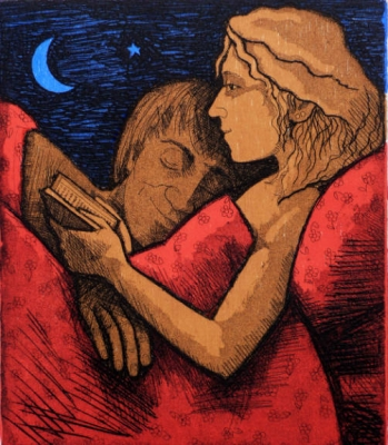 Reading in Bed (Etching with woodcut, 21x18cm) £195 plus delivery by Frans Wesselman