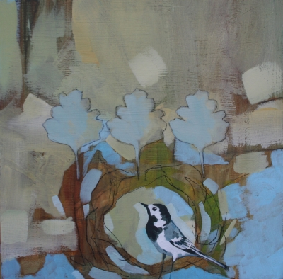 Wagtail in Nest (acrylic and conte on board unframed 30 X 30cm) Sold by Christopher Rainham