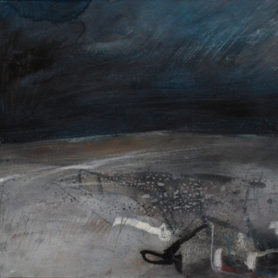 Nightfall at Lussas (oil and mixed media on board, 27x27cm ) £660 plus delivery by Russell Frampton