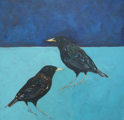 Two Starlings (acrylic on board, 30x30cm) £400 plus delivery by Christopher Rainham
