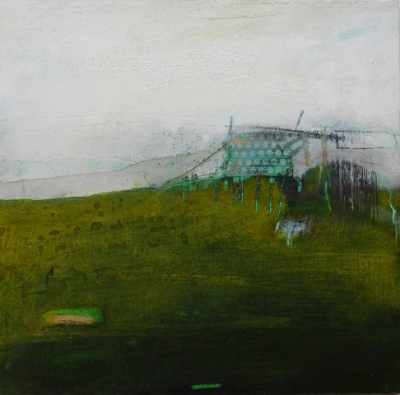 Searobyrig  (oil & mixed media on board, 27 x 27 cm) £660 plus delivery by Russell Frampton