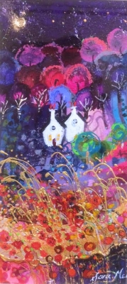 Moonlight (mixed media 62 x 42cm framed) £300 plus delivery by Sara Mead