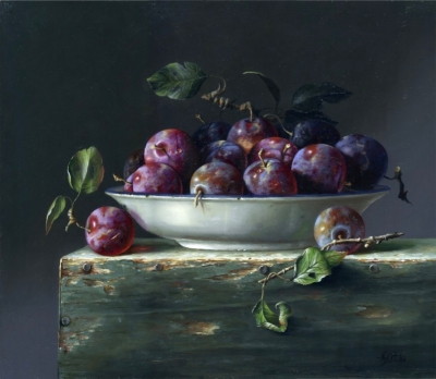 Plums  (oil on board 11 x 13 inches, 28 x 33 m framed)Sold by Rob Ritchie