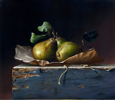 Pears (oil on board 11 x 13 inches, 28 x 33 m framed) £1400 by Rob Ritchie