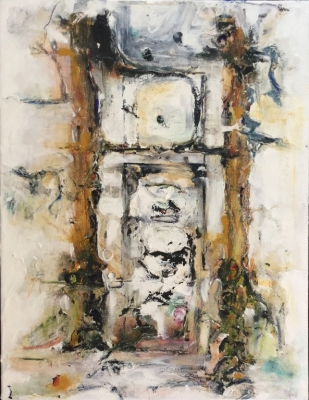 Portico  (mixed media on canvas framed 26 x 22 inches 66 x 56cm) £595 plus delivery by Bee Adams
