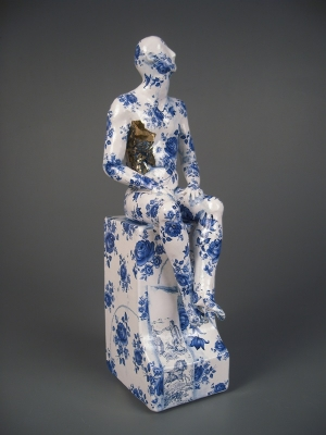Seated Male Nude on Plynth (original ceramic blue and white) £495 plus delivery by Pierre Williams