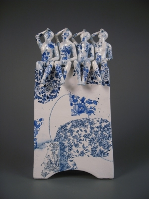 Four Pugilists Waiting for the Swifts (original ceramic blue and white) £450 plus delivery by Pierre Williams