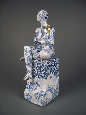 Seated Female Nude on Plynth (original ceramic blue and white) £495 plus delivery by Pierre Williams
