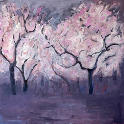 Almond Nocturne (acrylic on canvas unframed 100 x 100cm 39 x 39inches) £2250 plus delivery by Sally Stafford