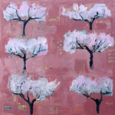 Pink Earth and Blossom (acrylic on canvas unframed 100 x 100cm 39 x 39inches) £2250 plus delivery by Sally Stafford