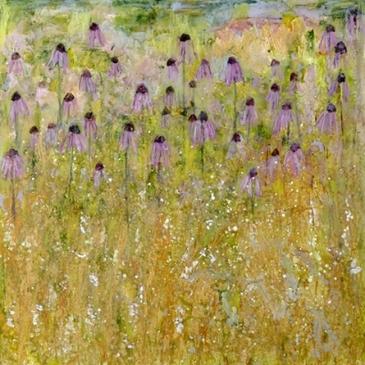 Summer Shower (acrylic on canvas unframed 100 x 100cm 39 x 39inches) £1950 plus delivery by Sally Stafford