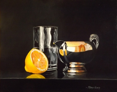 Lemon Silver Jug and Water (oil on linen panel framed 14 x 17 inches 42 x 36cm) £900 plus delivery by Peter Kotka