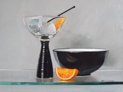 Cocktails! (oil on linen panel framed 14 x 17 inches 42 x 36cm) £900 plus delivery by Peter Kotka
