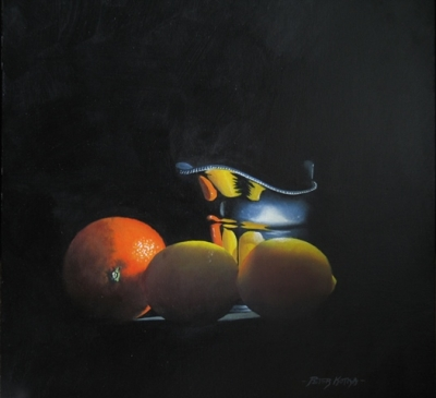 Fruit and Cream  (oil on linen panel framed 14 x 17 inches 42 x 36cm) Sold by Peter Kotka