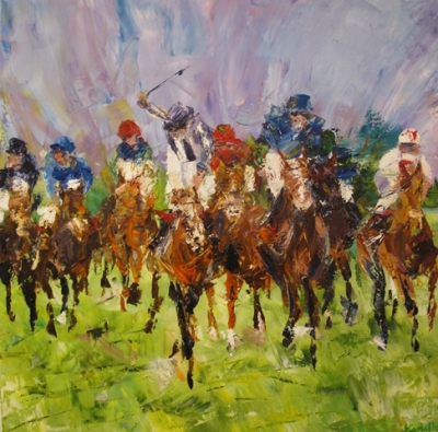 Ascot (oil on canvas 60 x 60cm unnframed) £790 plus delivery by Kathryn Sassall