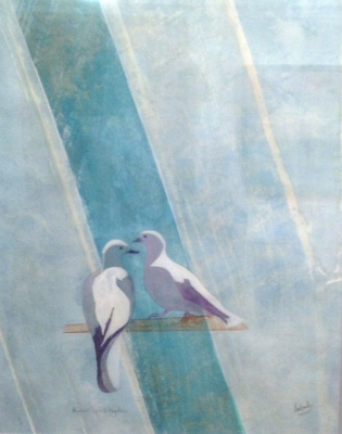 Human Spirit - Fly Free (gum bricromate, cyanotype & mixed media framed 80 x 100cm) £840 by Sue Maud