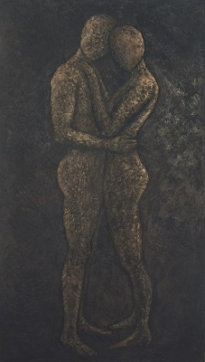 Dalliance (sand and mixed media on canvas 110 x 200cm unframed)  £2,695.00 plus delivery by