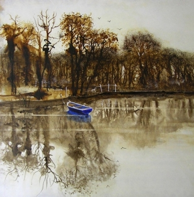 Blue Boat  (acrylics and inks framed 70 x 74cm) Sold by Richard Whyley