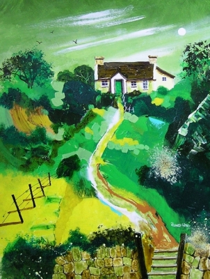 Cottage In Ireland  (acrylics framed 72 x 61cm) £450 plus delivery by Richard Whyley
