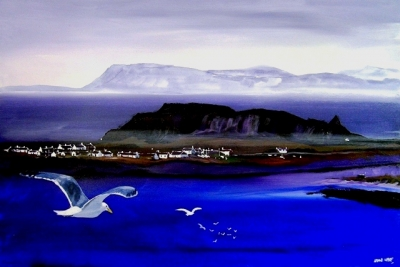 Easdale Gulls  (acrylic and inks framed 60 x 85cm) £850 plus delivery by