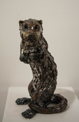 Otter (raku fired ceramics) Sold by Phil Hayes