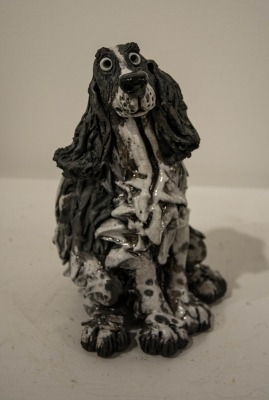 Cocker Spaniel B&W (raku fired ceramics) £238 Plus delivery by Phil Hayes
