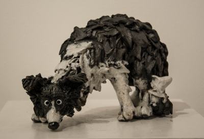 Sheepdog Sniffing (raku rired ceramics) £240 Plus delivery by Phil Hayes