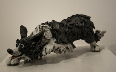 Sheepdog Stalking (raku fired ceramics) £240 Plus delivery by Phil Hayes