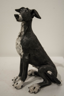 Greyhound B&W Sitting (raku fired ceramics) £240 plus delivery by Phil Hayes