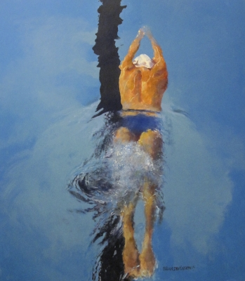 The Swimmer (92 x 105cm, oil on board) Sold by Brian Denington