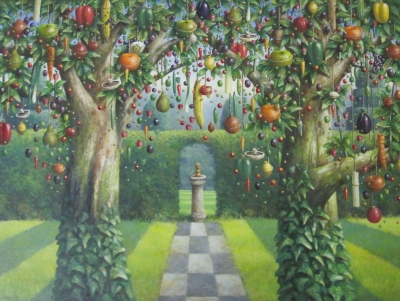 Chris Howells, Garden with Sundial (oil on canvas 102 x 76cm framed) £1895 Plus Delivery by Chris Howells
