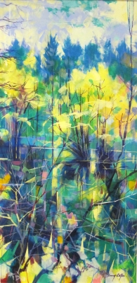 Meadowcliff Pond 017-009 (acrylic on canvas, 80 x 40cm) £850 plus delivery by Doug Eaton