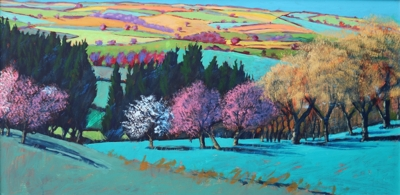 Teme Valley April (acrylic on board 2019 unframed 60 x 120cm)