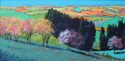 Teme Valley Blossom (acrylic on board 2019 unframed 60 x 120cm) by Paul Powis
