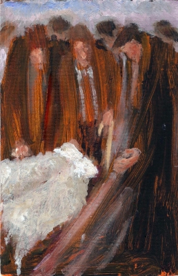 Champion Butchers' Lambs - Mary Edwards, Oil by Mary Edwards