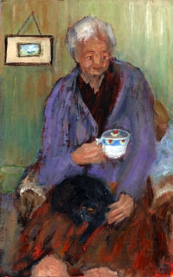 Mrs Butcher Beynon with her Pet Black Cat by Mary Edwards