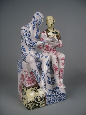 Seated Couple on Plinth, Reading Series by Pierre Williams