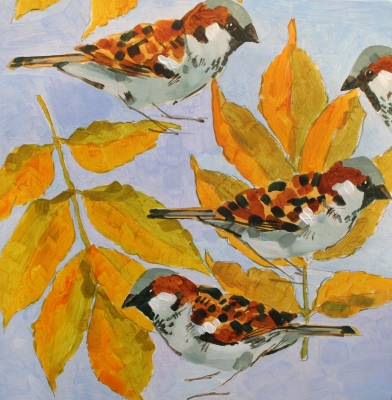 Sparrows on Ash Leaves