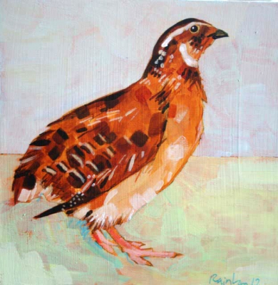 Quail on green by Christopher Rainham
