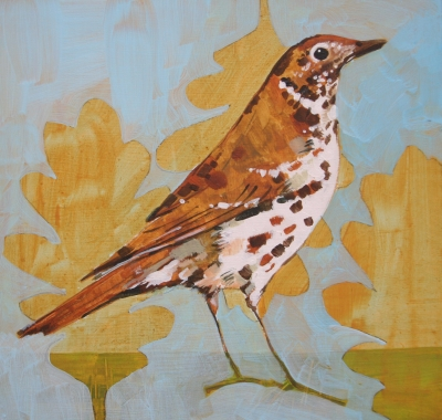 Thrush on Oak Leaves by Christopher Rainham
