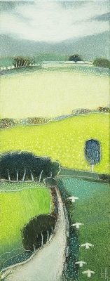 We saw the green fields-50x20cm by Rob Van Hoek